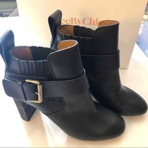 NEW See by Chloe Cappa Bootie Leather Stacked Heel